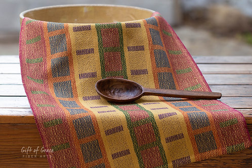 "Handwoven Cotton Kitchen Towel ""Mission Style Turned Taqueté"" (gold weft"