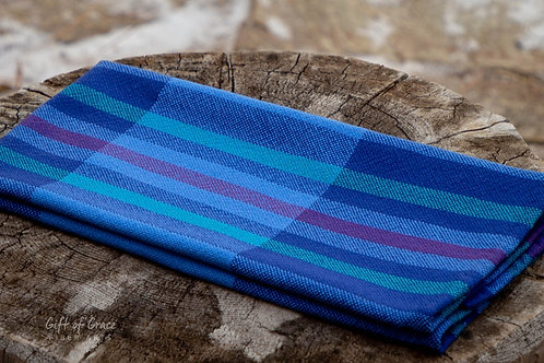 "2 Handwoven Cotton Kitchen Towels ""Seaside"" #1,8"