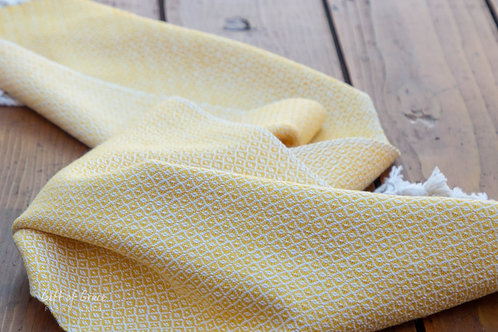 "Handwoven Birdseye Twill Cotton Table Runner ""Sunflower"""