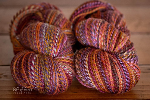 """2 Skeins Worsted Weight Falkland/Polwarth """"Pouncing Monsters"""" Combo Spin"""