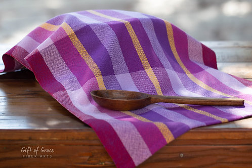 "1 Handwoven Cotton Kitchen Towel ""Blossom"" #1"