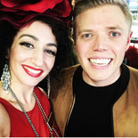 With Rob Beckett while filming 'All Together Now'