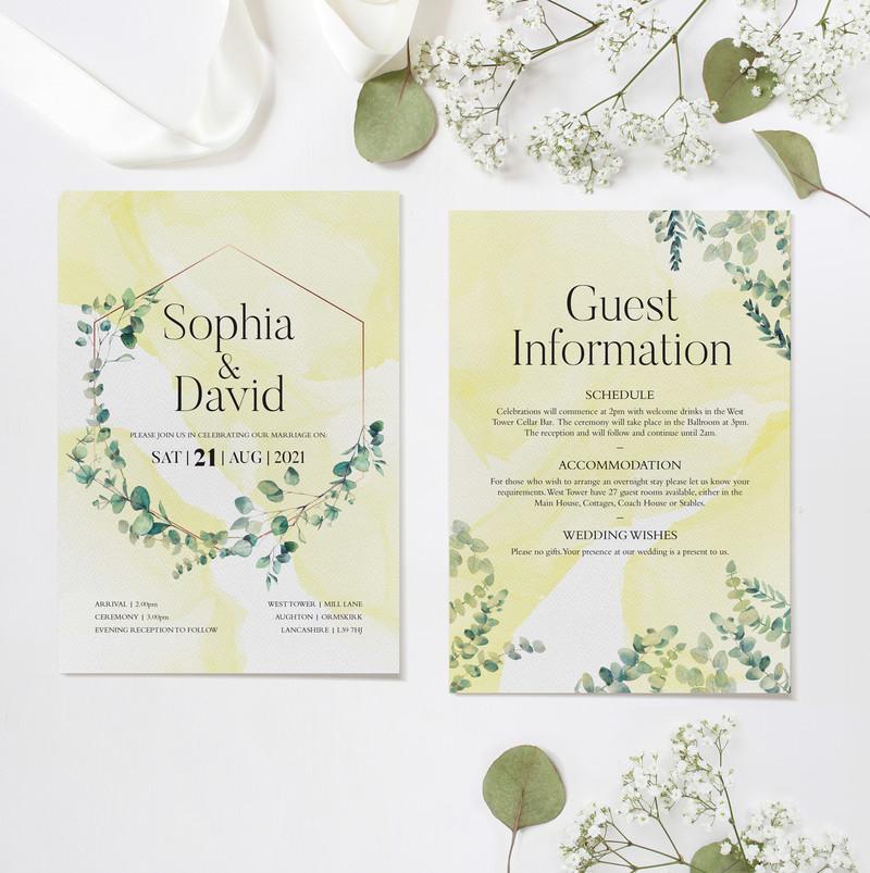 Eucalyptus Wedding Ceremony Invitations (Yellow)