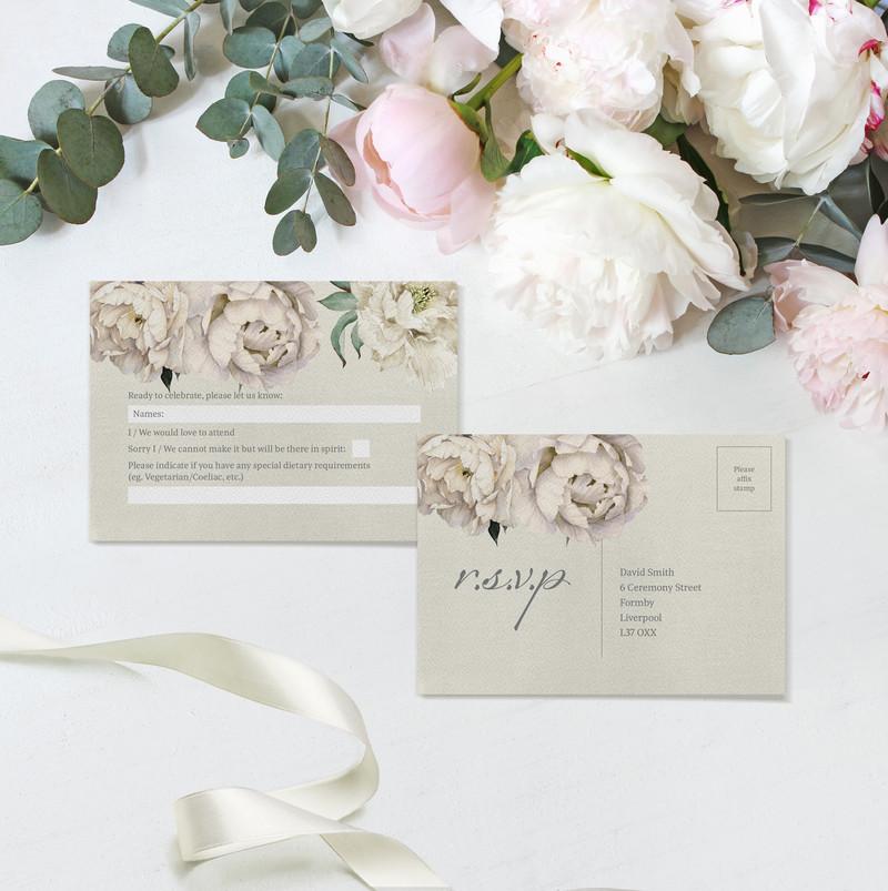 Peony Rose RSVP Postcards (Taupe)