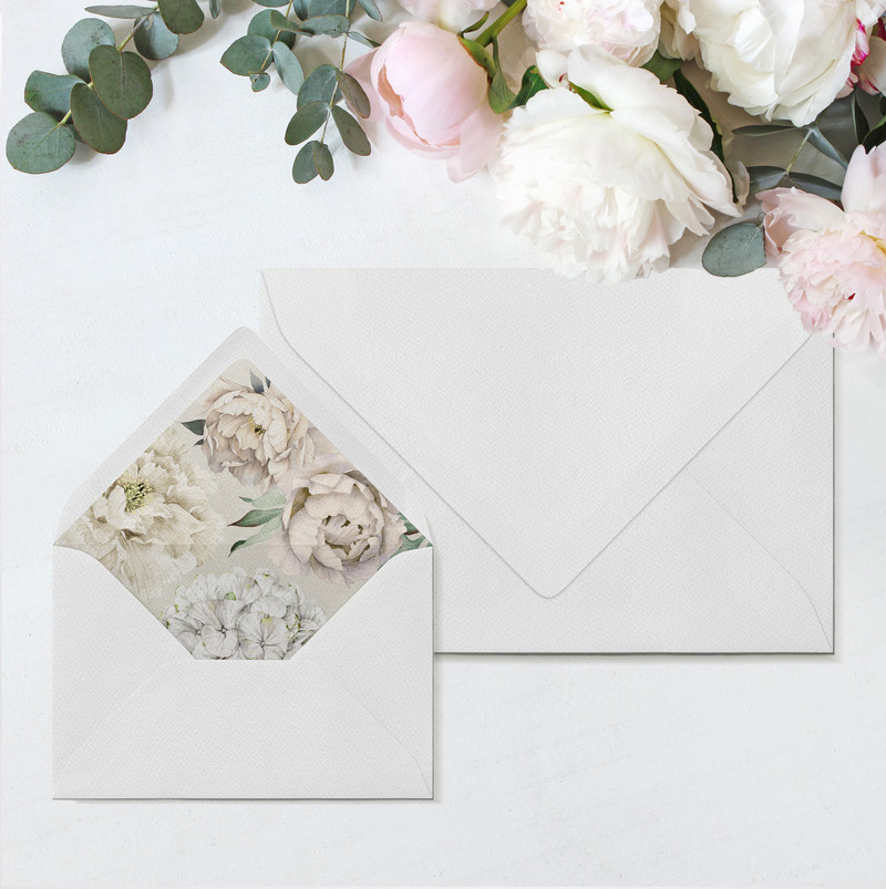 Peony Rose Envelopes & Liners (Taupe)