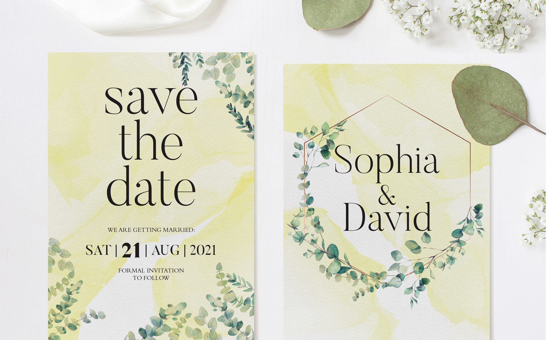 Eucalyptus Save The Date Cards (Yellow)