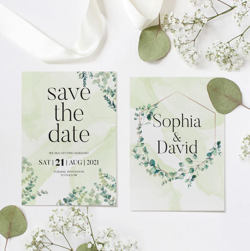 Eucalyptus Save The Date Cards (Green)
