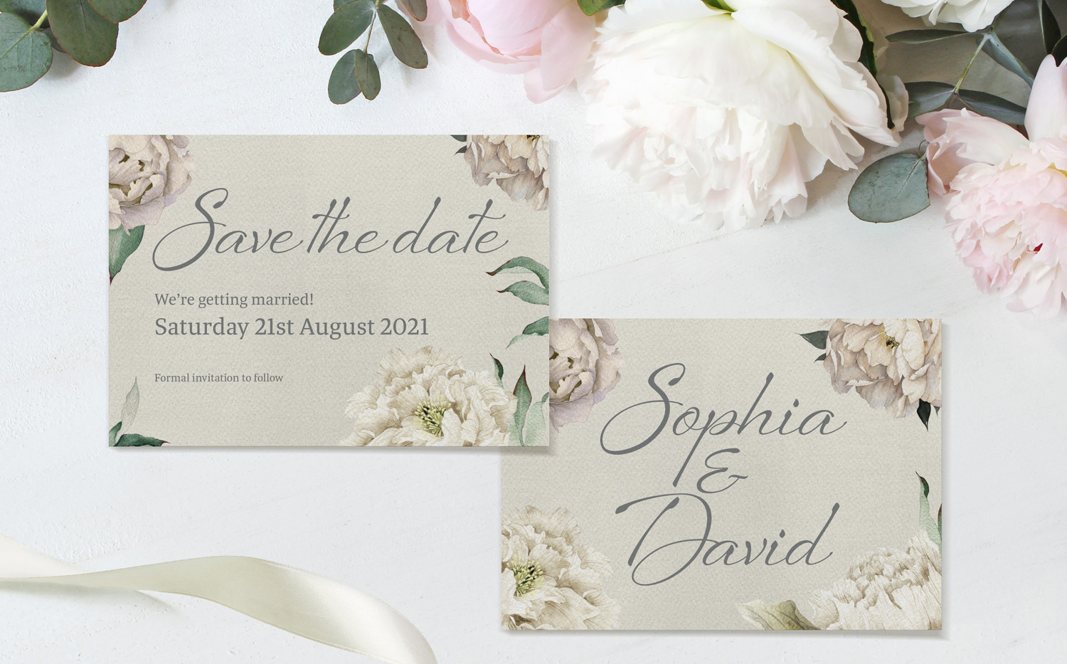 Peony Rose Save The Date cards (Taupe)