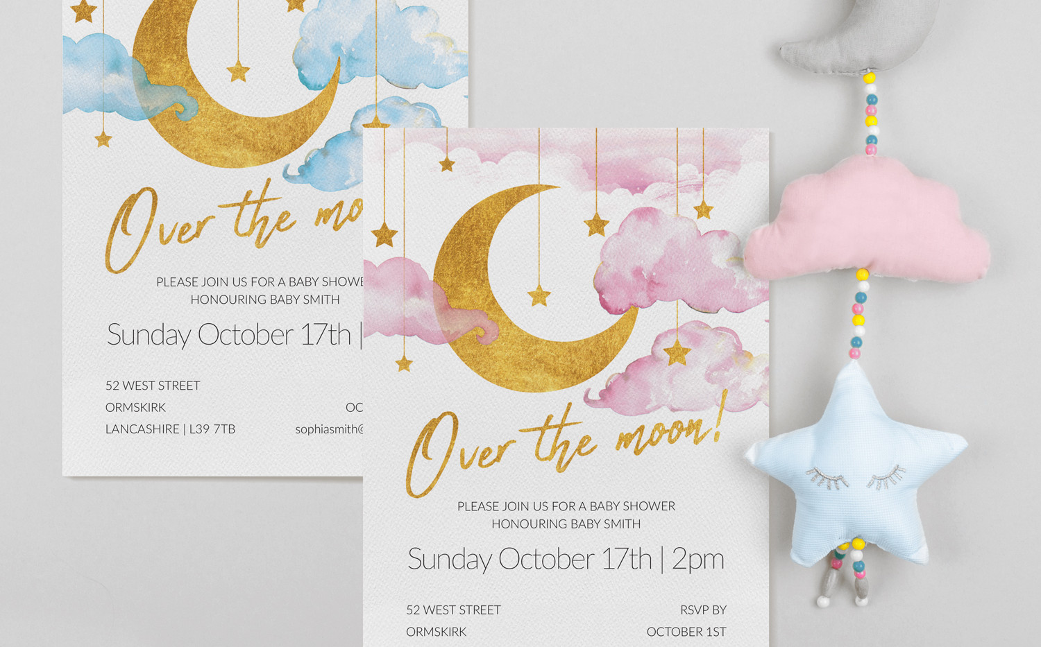 Over The Moon Invitations (A5)