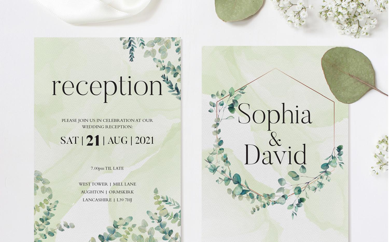 Eucalyptus Reception Invitations (Green)