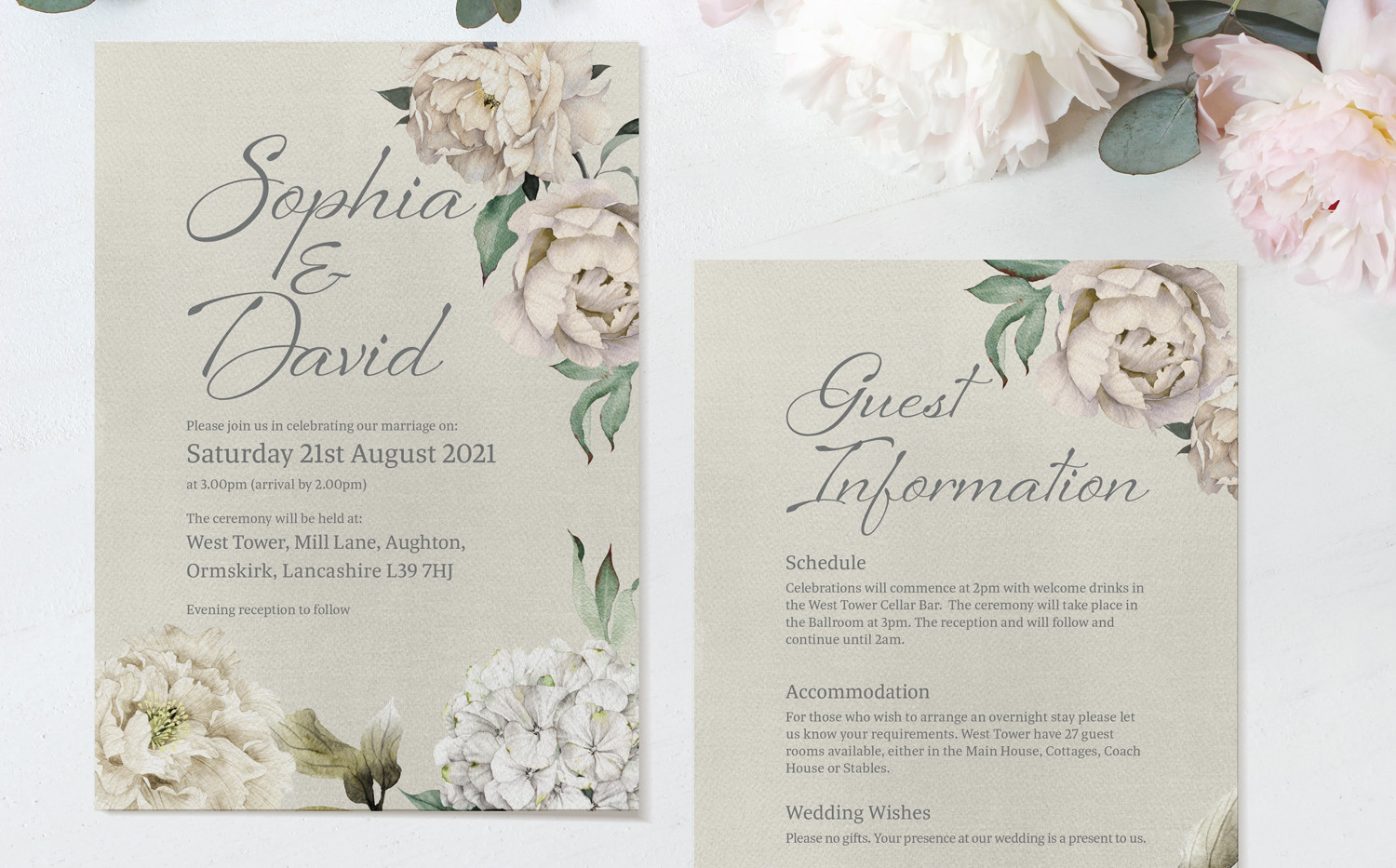 Peony Rose Ceremony Invitations (Taupe)