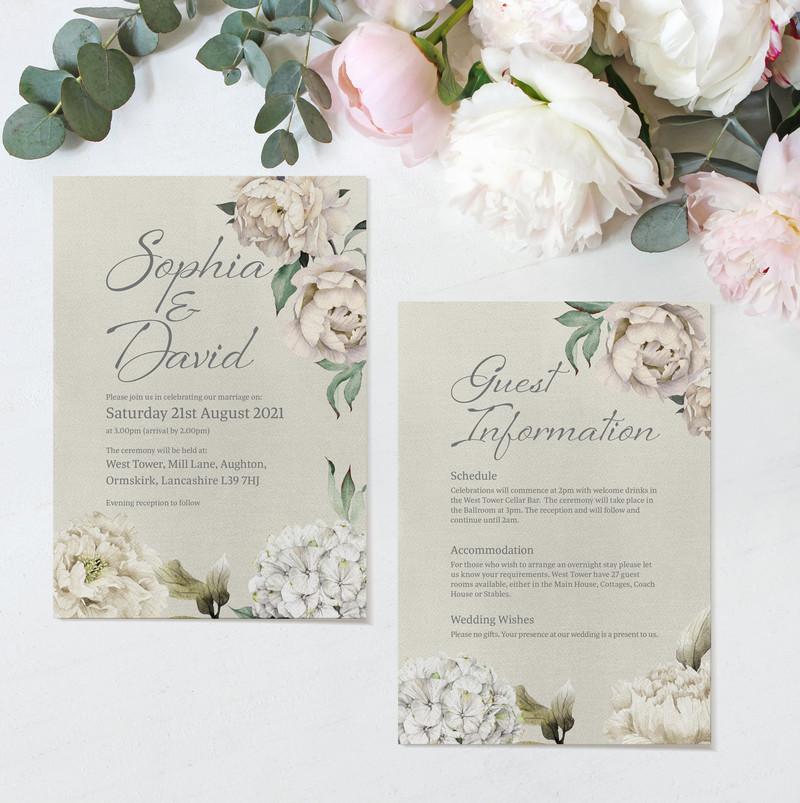 Peony Rose Ceremony Invitations (Taupe)