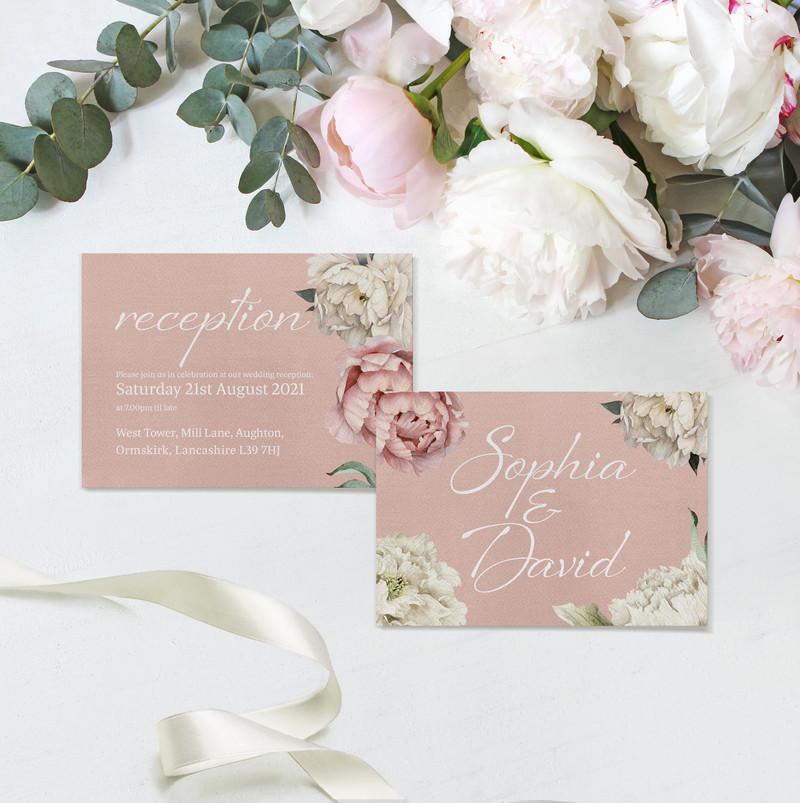 Peony Rose Reception Invitations (Dusky Pink)