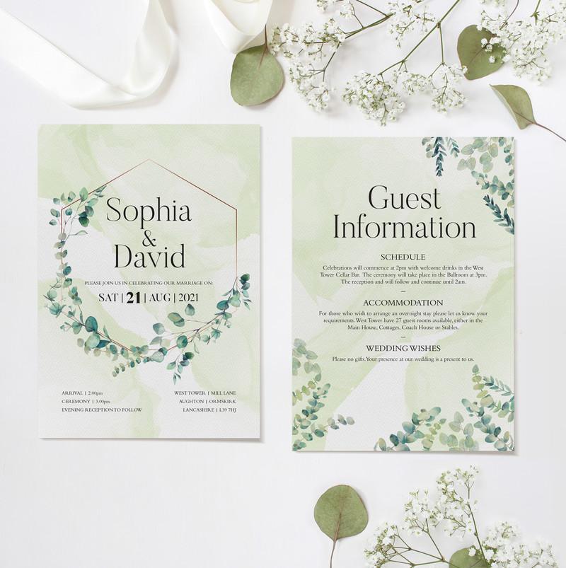 Eucalyptus Wedding Ceremony Invitations (Green)