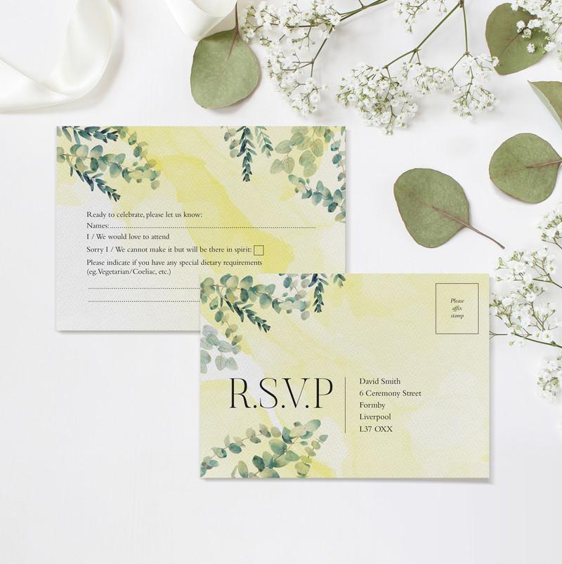 Eucalyptus RSVP Postcards (Yellow)