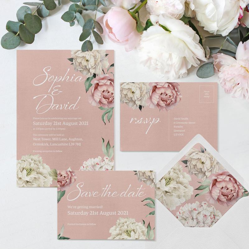 Peony Rose Stationery (Dusky Pink)