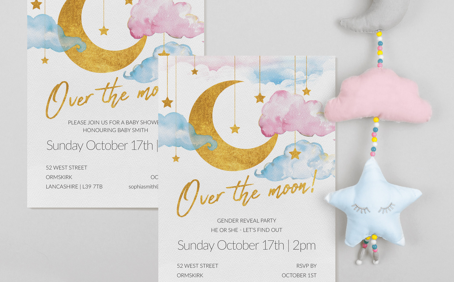 Over The Moon Invitations - Unisex (A5)