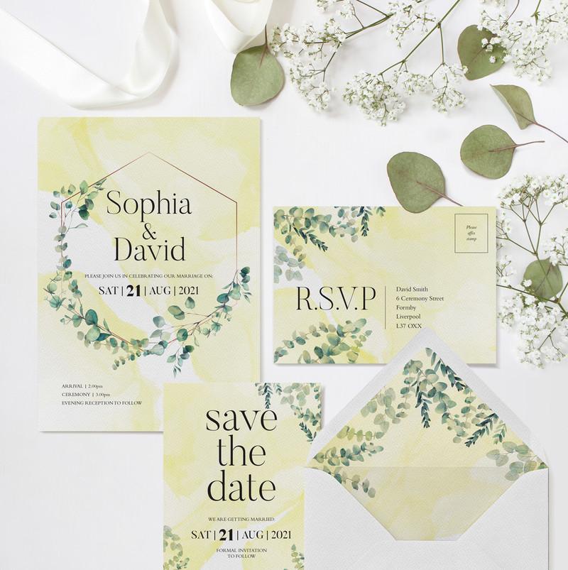Eucalyptus Wedding Stationery (Yellow)