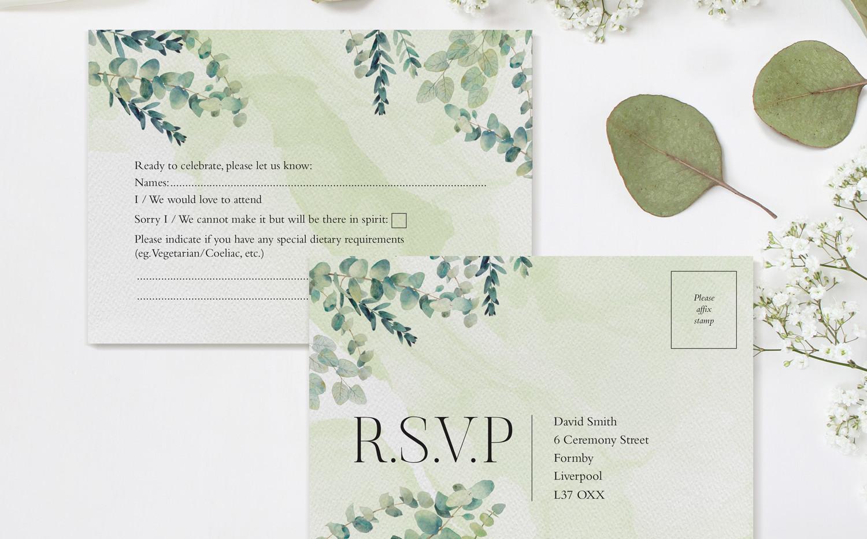 Eucalyptus RSVP Postcards (Green)