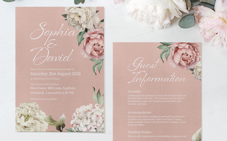 Peony Rose Ceremony Invitations (Dusky Pink)