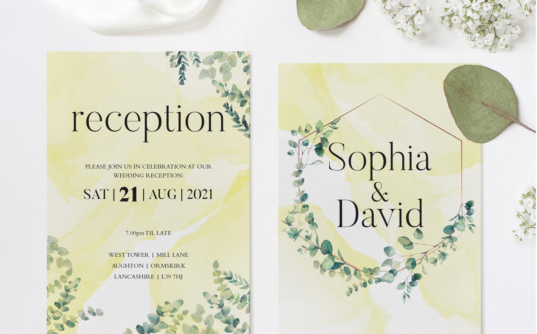 Eucalyptus Reception Invitations (Yellow)
