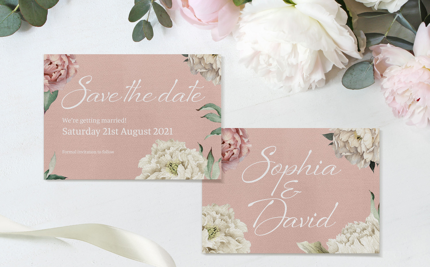 Peony Rose Save The Date cards (Dusky Pink)