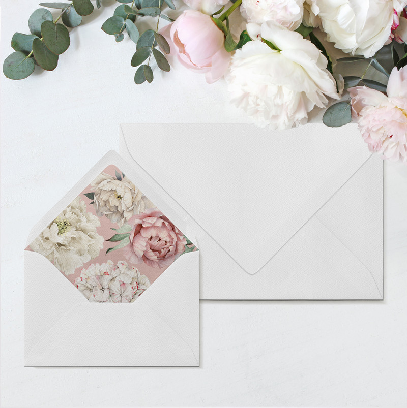 Peony Rose Envelopes & Liners (Dusky Pink)