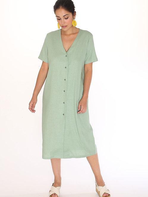 Pepaloves Linen V-Neck Dress