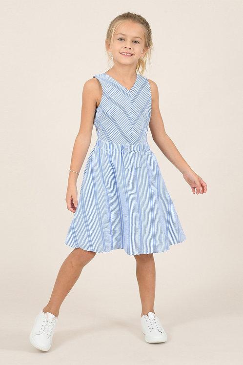 Mini Molly - Woven Blue Stripped Dress