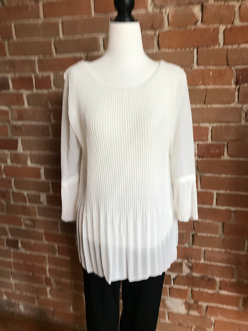 Made in Italy - White Pleated Top