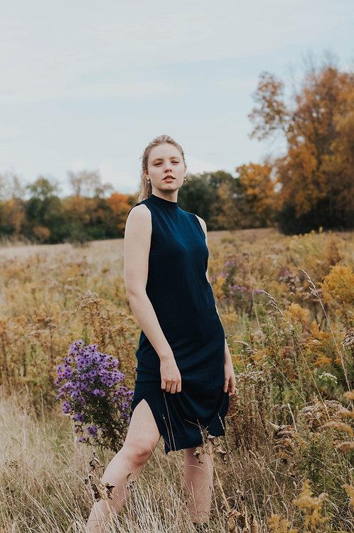 Made in Italy - Navy Knit Sleeveless Dress