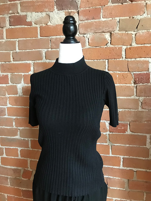 Made in Italy - Knit Ribbed Top Black