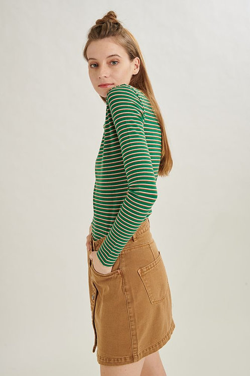 24 Colours - Denim Button Skirt