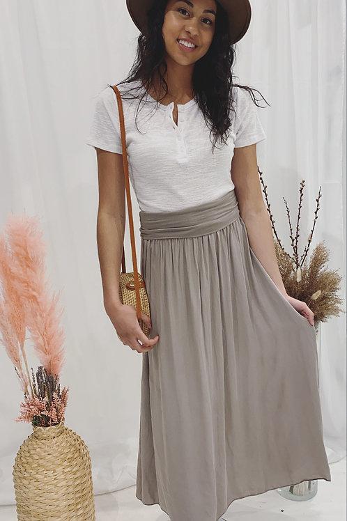 Made in Italy Sand Long Skirt