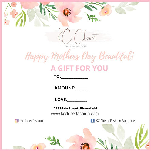 Mothers Day Gift Card Special - $60