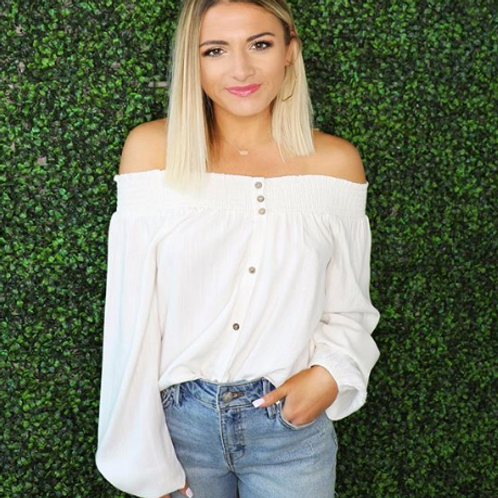 White Crow - Off The Shoulder Front Tie Top