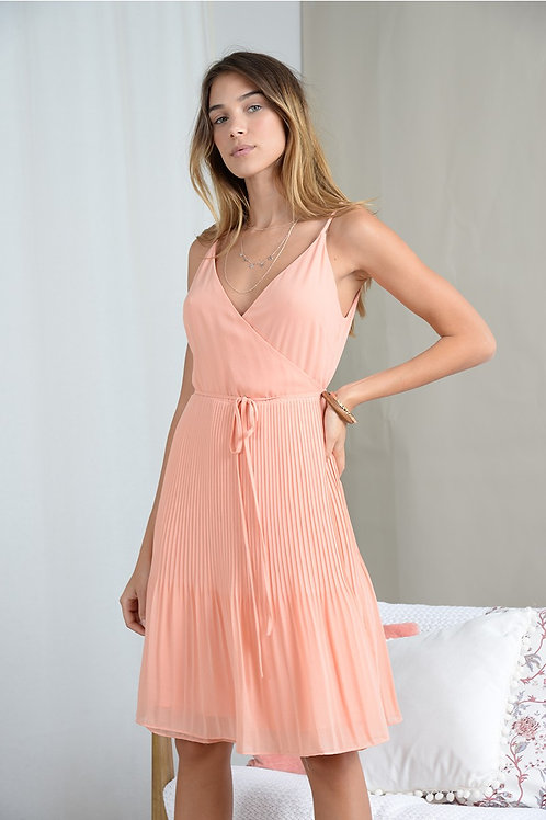 Molly Bracken Pleated Dress with Thin Straps