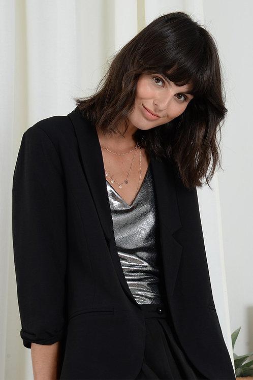 Molly Bracken Black Shawl Collar Blazer