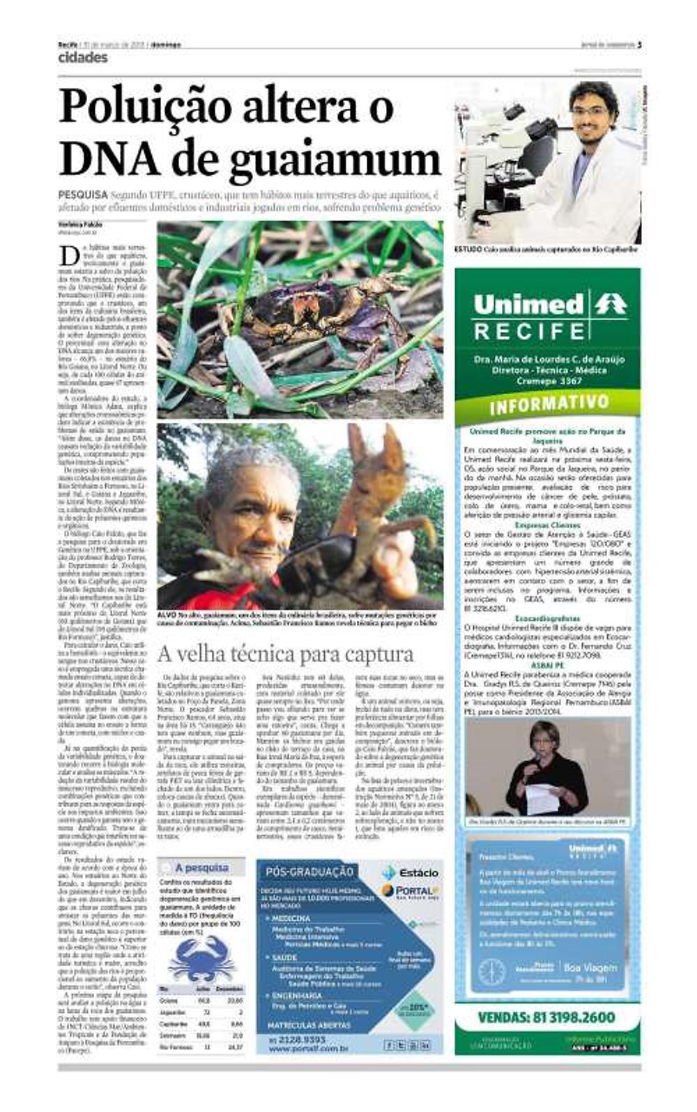 Reportagem do Jornal do Comércio - Recife de 31/03/2013