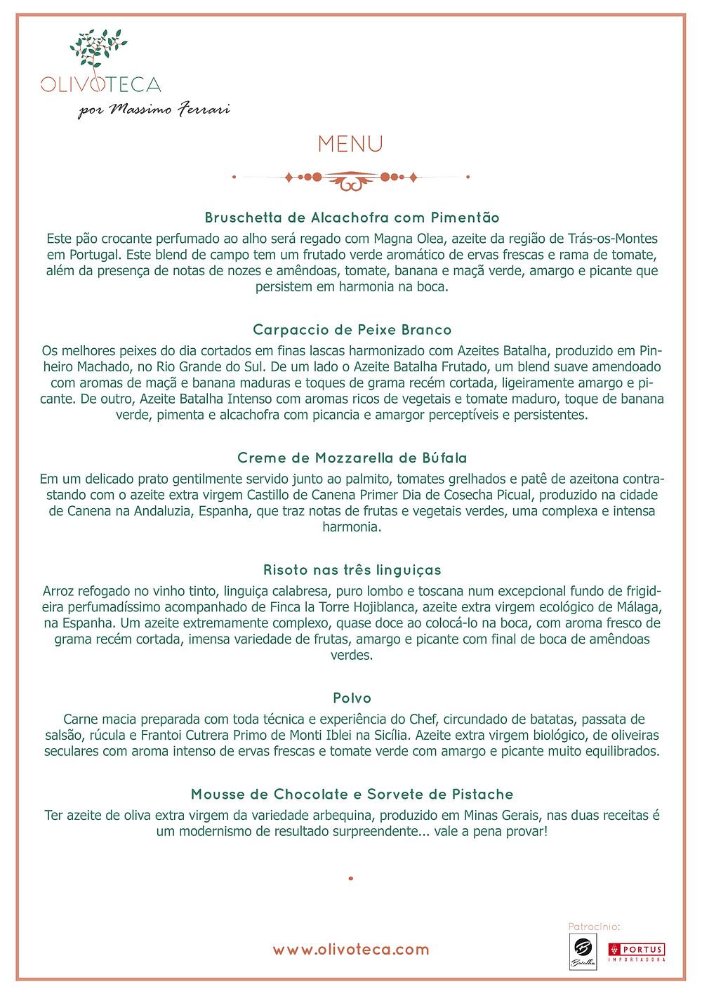 Menu desenvolvido pela Olivoteca com o Chef Massimo Ferrari