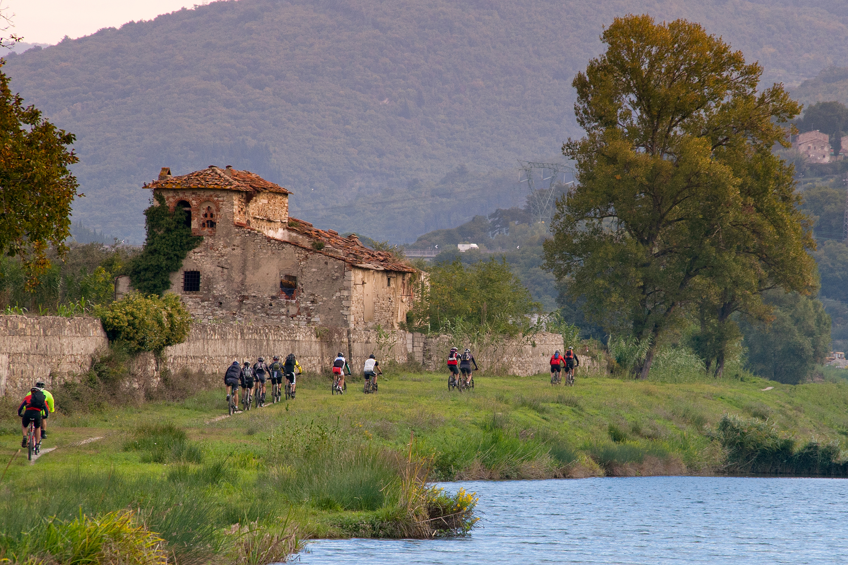 Florence Tuscany - climb with mountain bike from the artificial lakes to Mount Calvana up to the sum