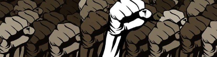 black fists in the air