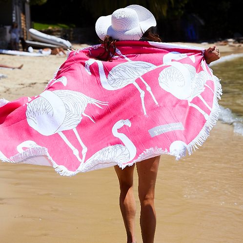 Deco Flamingos Round Beach Towel - LIMITED EDITION -