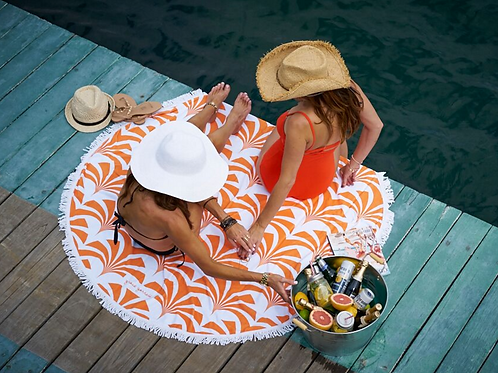 Coral Miami Palms Round Beach Towel - LIMITED EDITION -