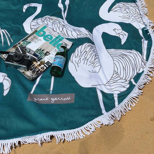 Flamingos Teal Beach Towel - Summer 2018/19
