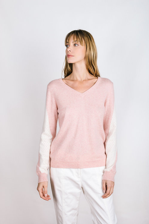Perforated Colorblock Sleeve Pullover