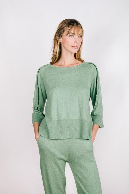 Ruffle Back-Buttoned Sweater