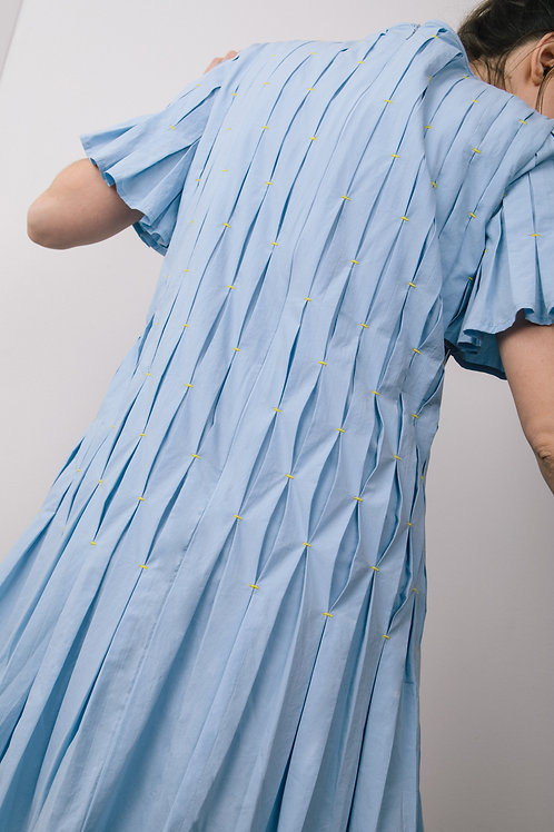 Tacked pleated dress