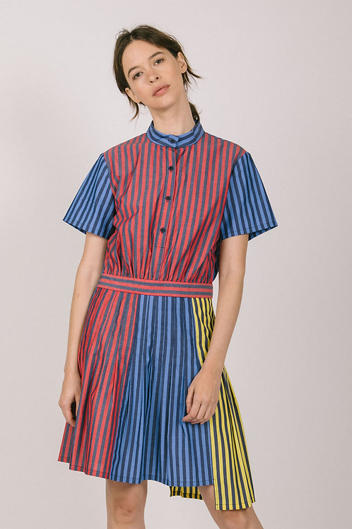 Stripey colorblock dress