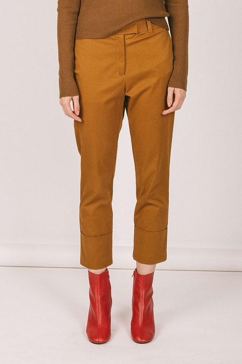 Cuffed twill ankle pant